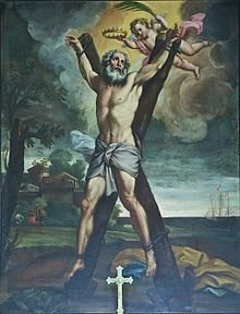 Painting of the crucifixion of St Andrew